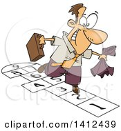 Clipart Of A Cartoon Caucasian Business Man Playing Hopscotch Royalty Free Vector Illustration