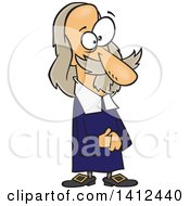 Clipart Of A Cartoonman Thomas Hobbes Standing And Holding His Hands Together Royalty Free Vector Illustration