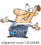 Clipart Of A Cartoon Caucasian Businessman With Open Arms Welcoming Applause Royalty Free Vector Illustration by Ron Leishman