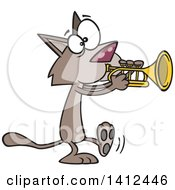 Cartoon Kitty Cat Walking And Playing A Trumpet