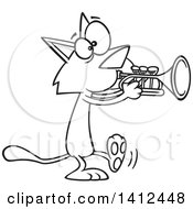 Clipart Of A Cartoon Black And White Lineart Kitty Cat Walking And Playing A Trumpet Royalty Free Vector Illustration by toonaday