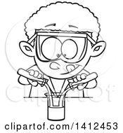 Clipart Of A Cartoon Black And White Lineart African American School Boy Mixing Chemicals In Science Class Royalty Free Vector Illustration