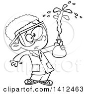 Clipart Of A Cartoon Black And White Lineart African American School Boy Holding A Bad Chemistry Mix In Science Class Royalty Free Vector Illustration