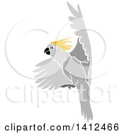 Clipart Of A Flying Yellow Crested Cockatoo Parrot Royalty Free Vector Illustration by dero