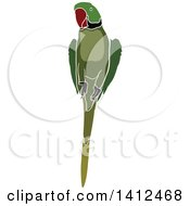 Clipart Of A Green Parrot Royalty Free Vector Illustration