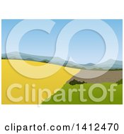 Clipart Of A Landscape Background With Farm Land Royalty Free Vector Illustration
