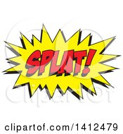Clipart Of A SPLAT Comic Sound Balloon Royalty Free Vector Illustration