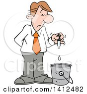 Clipart Of A Cartoon Caucasian Businessman Putting A Drop In The Bucket Royalty Free Vector Illustration