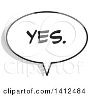 Clipart Of A Yes Word Speech Balloon Royalty Free Vector Illustration