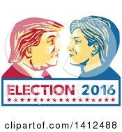 Clipart Of A Retro Face Off Between Hillary Clinton And Donald Trump Over Text Royalty Free Vector Illustration