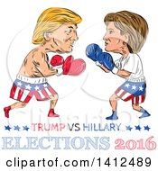 Sketched Caricature Of Donald Trump Vs Hillary Clinton In A Boxing Match