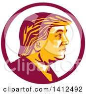 Clipart Of A Retro Profile Portrait Of Donald Trump In A Magenta Circle Royalty Free Vector Illustration