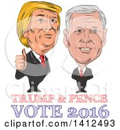 Clipart Of A Sketched Caricature Of Donald Trump Giving A Thumb Up Next To Mike Pence Royalty Free Vector Illustration