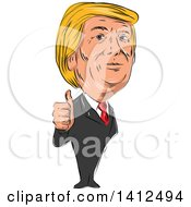 Sketched Caricature Of Donald Trump Giving A Thumb Up