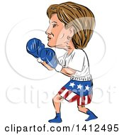 Clipart Of A Sketched Caricature Of Hillary Clinton Boxing Royalty Free Vector Illustration