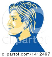 Clipart Of A Retro Profile Portrait Of Hillary Clinton Royalty Free Vector Illustration