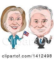 Sketched Caricature Of Hillary Clinton Waving A Flag Next To Tim Kaine