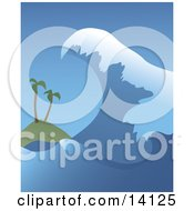 Giant Tsunami Wave Closing In On Two Palm Trees On A Beach Natural Hazard Clipart Illustration