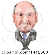 Clipart Of A Watercolor Caricature Of Martin Schulz German Politician Serving As The President Of The European Parliament Royalty Free Vector Illustration