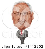 Clipart Of A Watercolor Caricature Of Dato Sri Haji Mohammad Najib Bin Tun Haji Abdul Razak The Sixth Prime Minister Of Malaysia Royalty Free Vector Illustration