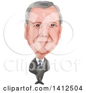 Clipart Of A Watercolor Caricature Of Nigel Paul Farage A British Politician MP And The Leader Of The UK Independence Party UKIP Royalty Free Vector Illustration