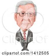 Clipart Of A Watercolor Caricature Of Jean Claude Juncker A Luxembourgish Politician And President Of The European Commission Royalty Free Vector Illustration