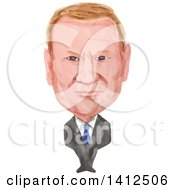 Clipart Of A Watercolor Caricature Of Donald Franciszek Tusk Polish Politician And The President Of The European Council Royalty Free Vector Illustration
