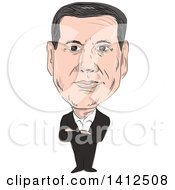 Clipart Of A Sketched Caricature Of Alexis Tsipras Greek Politican And Prime Minister Of Greece Royalty Free Vector Illustration