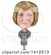 Sketched Caricature Of Theresa Mary May Prime Minister Of The United Kingdom And Leader Of The Conservative Party
