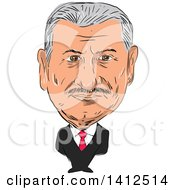 Sketched Caricature Of Binali YLdRM Turkish Politician And 27th Prime Minister Of Turkey