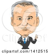 Clipart Of A Sketched Caricature Of Timothy Michael Tim Kaine American Attorney Politician Senator And United States Democrat Vice President Candidate Royalty Free Vector Illustration
