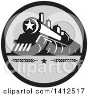 Clipart Of A Retro Steam Engine Train With A Star On The Front Inside A Black And Gray Circle Royalty Free Vector Illustration