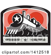 Clipart Of A Retro Steam Engine Train With A Star On The Front Inside A Black White Gray And Red Crest Royalty Free Vector Illustration
