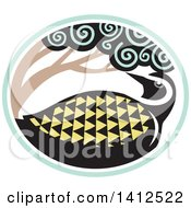 Clipart Of A Retro Tribal Style Pacific Golden Plover Bird Under A Tree In A Sea Green And White Oval Royalty Free Vector Illustration by patrimonio