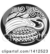 Clipart Of A Retro Grayscale Tribal Style Pacific Golden Plover Bird Under A Tree In An Oval Royalty Free Vector Illustration