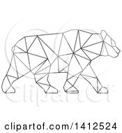 Clipart Of A Black And White Low Polygon Style American Black Bear Royalty Free Illustration