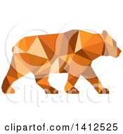 Clipart Of A Low Polygon Style American Black Bear In Orange Tones Royalty Free Illustration