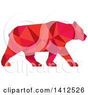 Clipart Of A Low Polygon Style American Black Bear In Red Tones Royalty Free Illustration
