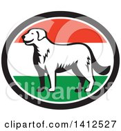 Clipart Of A Retro Woodcut Kuvasz Dog In A Hungary Flag Oval Royalty Free Vector Illustration