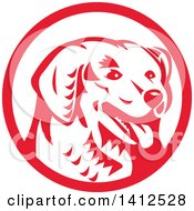 Clipart Of A Retro Woodcut Kuvasz Dog Head Panting In A Red And White Circle Royalty Free Vector Illustration