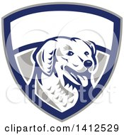 Clipart Of A Retro Woodcut Kuvasz Dog Head Panting In A Gray Blue And White Shield Royalty Free Vector Illustration