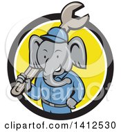 Retro Cartoon Elephant Man Mechanic Holding A Giant Spanner Wrench Emerging From A Black White And Yellow Circle