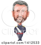 Watercolor Caricature Of The King Of Spain Felipe VI Full Name Felipe Juan Pablo Alfonso De Todos Los Santos De Borbon Y Grecia