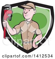 Retro Cartoon White Male Plumber Or Handy Man Holding A Monkey Wrench In A Black White And Green Shield