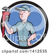 Retro Cartoon White Male Plumber Or Handy Man Holding A Monkey Wrench In A Black White And Blue Circle