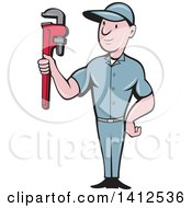 Retro Cartoon White Male Plumber Or Handy Man Holding A Monkey Wrench