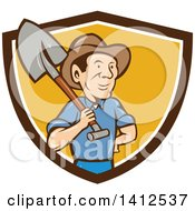 Retro Cartoon Male Farmer Standing With One Hand On His Hip And A Shovel Over His Shoulder Emerging From A Brown White And Orange Shield