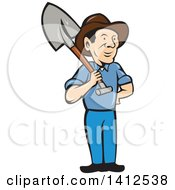 Retro Cartoon Male Farmer Standing With One Hand On His Hip And A Shovel Over His Shoulder
