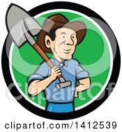 Retro Cartoon Male Farmer Standing With One Hand On His Hip And A Shovel Over His Shoulder Emerging From A Black White And Green Circle