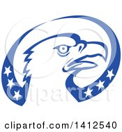 Clipart Of A Retro Bald Eagle Head In A Blue And White American Themed Oval Royalty Free Vector Illustration